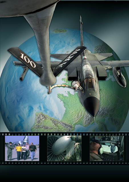 Artwork cover of the 100th Air Refueling Wing (ARW), RAF Mildenhall, base newsmagazine, the Marauder, depicting the wings mission extends beyond just refueling other aircraft