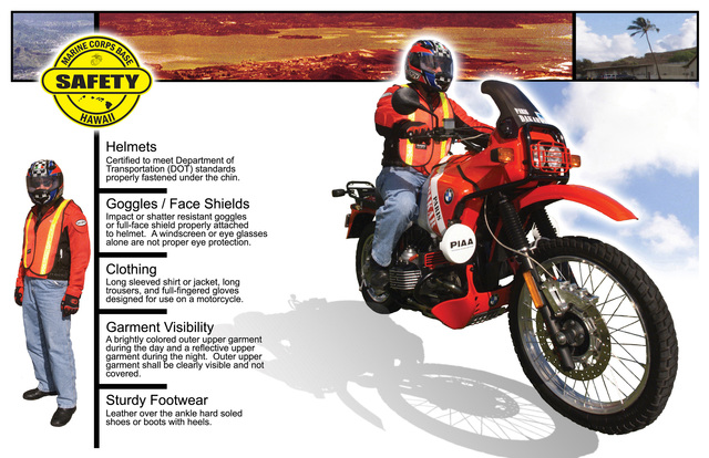 Motorcycle safety poster designed to make Marines and Sailors aware of the clothing and safety gear required to ride a motorcycle aboard Marine Corp Bases