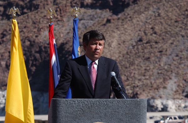 Assistant Secretary for Water and Science, Bennett Raley, at Hoover Dam, Boulder City, Nevada events marking Colorado River Water Delivery Agreement,providing for reduction in California reliance on Colorado River water and protection of water shares for six other Colorado River Basin states