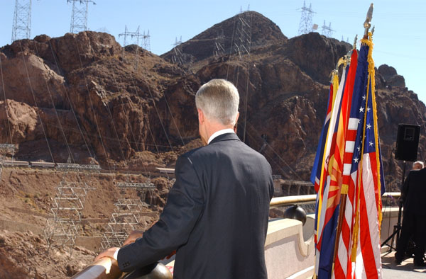 California Governor Gray Davis at Hoover Dam, Boulder City, Nevada events marking Colorado River Water Delivery Agreement, providing for reduction in California reliance on Colorado River water and protection of water shares for six other Colorado River Basin states