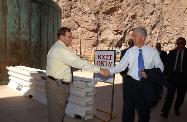 California Governor Gray Davis at Hoover Dam, Boulder City, Nevada events marking historic Colorado River Water Delivery Agreement, providing for reduction in California reliance on Colorado River water and protection of authorized shares of water for six other Colorado River Basin states