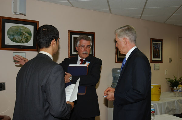 California Governor Gray Davis, far right, at Hoover Dam, Boulder City, Nevada events marking historic Colorado River Water Delivery Agreement, providing for reduction in California reliance on Colorado River water and protection of authorized shares of water for six other Colorado River Basin states
