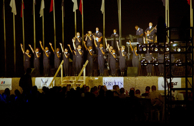 """US Air Force (USAF) group """"Tops in Blue"""" performs for the 447th Air Expeditionary Group (AEG) at Baghdad International Airport (BIA), in support of Operation IRAQI FREEDOM"""