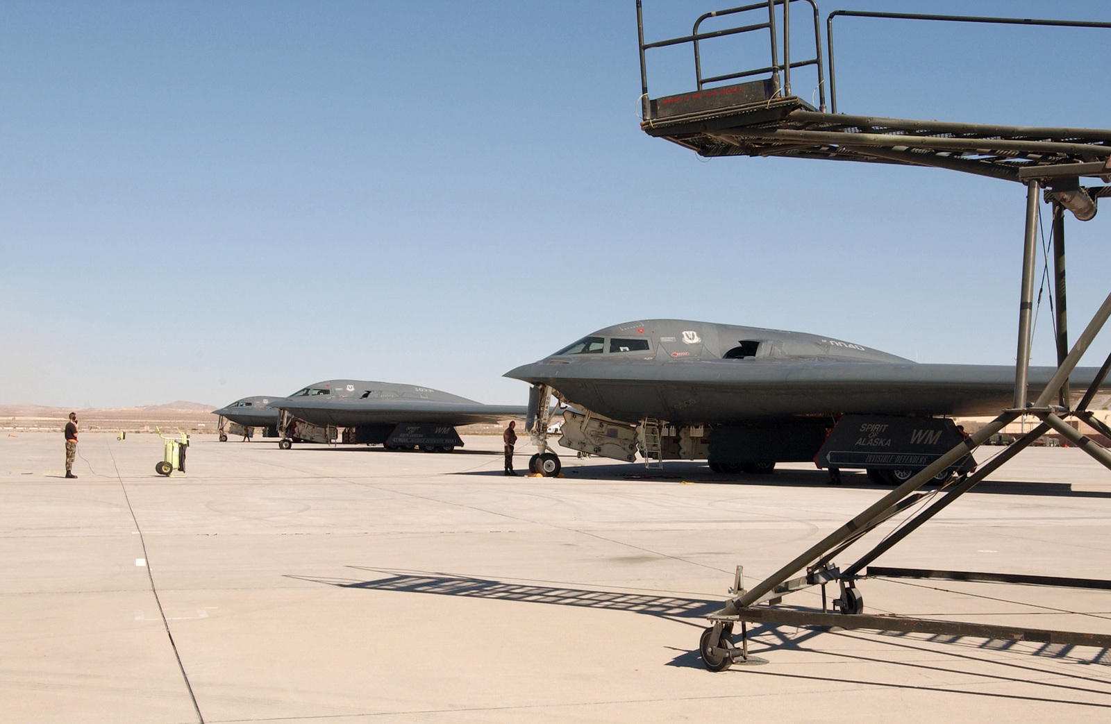 A US Air Force (USAF) B-2 Spirit bomber aircraft on the ramp at Nellis Air Force Base (AFB), Nevada (NV). The Bombers are from the 509th Bomb Wing (BW) at Whiteman Air Force Base (AFB), Missouri (MO) and participate in regular Red Flag exercises