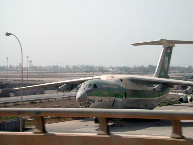 An old Iraqi Airways Russian made jet sits on the tarmac near the main terminal to Baghdad International Airport (BIA)