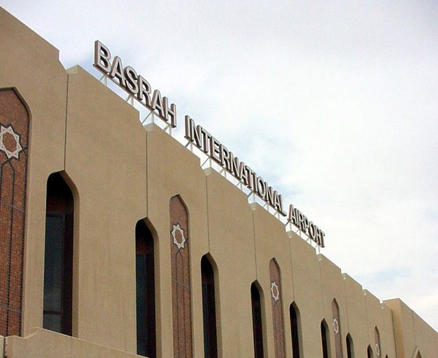The main sign at the Basra International Airport (BIA) in Iraq (IRQ), during Operation IRAQI FREEDOM