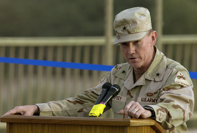 US Army (USA) 1ST Armored Divison Commander, Brigadier General (BGEN) Martin E. Dempsey speaks during the 14th of July Bridge reopening in Baghdad, Iraq (IRQ), during Operation IRAQI FREEDOM