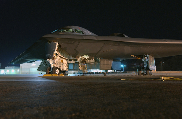 """US Air Force (USAF) B-2 Spirit bomber, """"The Spirit of Ohio,"""" sits on the ramp at Nellis Air Force Base (AFB), Nevada (NV)"""