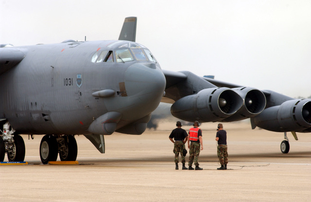 US Air Force (USAF) Crew Chiefs of the 2nd Bomb Wing (BW), Barksdale Air Force Base (AFB), Louisiana (LA), launch their B-52H Stratofortress bombers in Minimal Interval Takeoffs (MITO's) during an Operational Readiness Inspection (ORI)