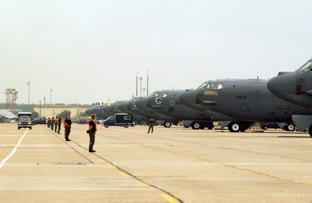 US Air Force (USAF) Crew Chiefs of the 2nd Bomb Wing (BW), Barksdale Air Force Base (AFB), Louisiana (LA), launch their B-52H bombers in Minimal Interval Takeoffs (MITO's) during an Operational Readiness Inspection (ORI)