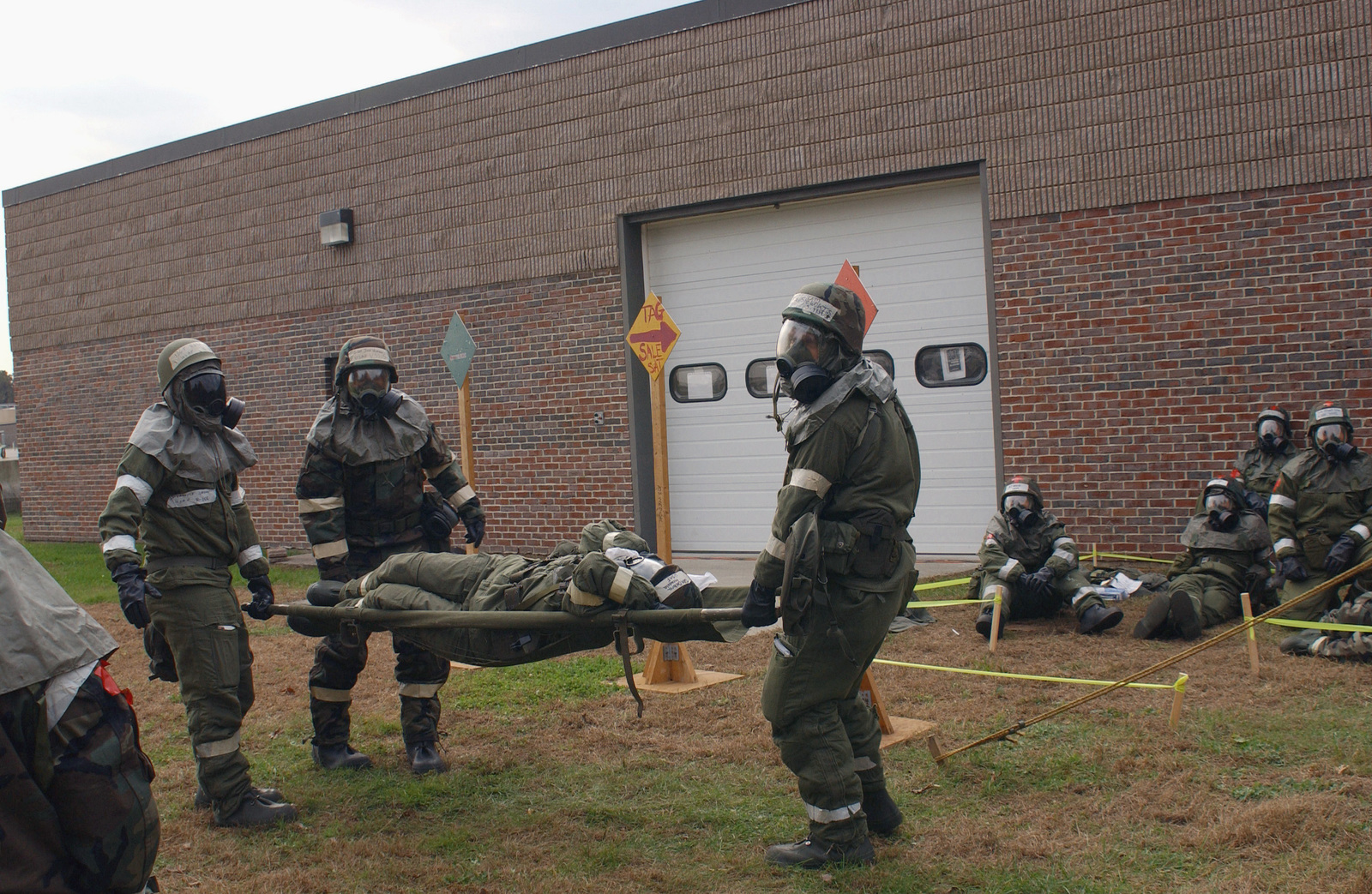 US Air Force (USAF) Medics in Mission-Oriented Protective Posture