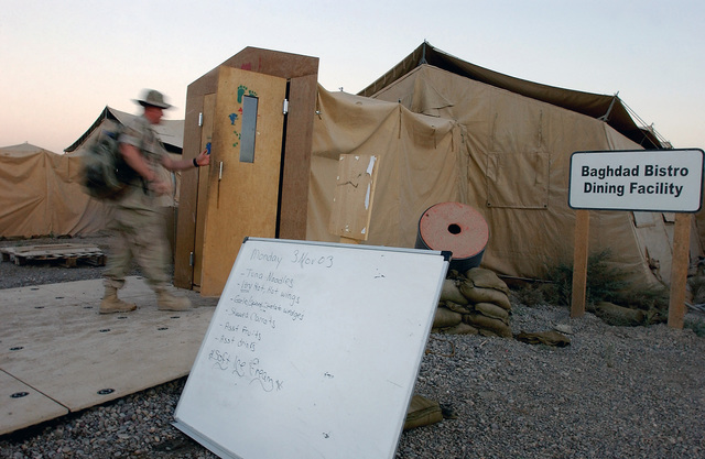 The Baghdad Bistro, run by the US Air Force (USAF) 447th Expeditionary Services Squadron (ESVS), provides two hot meals per day to the many Air Force personnel deployed to Baghdad International Airport (IAP), Iraq, during Operation IRAQI FREEDOM