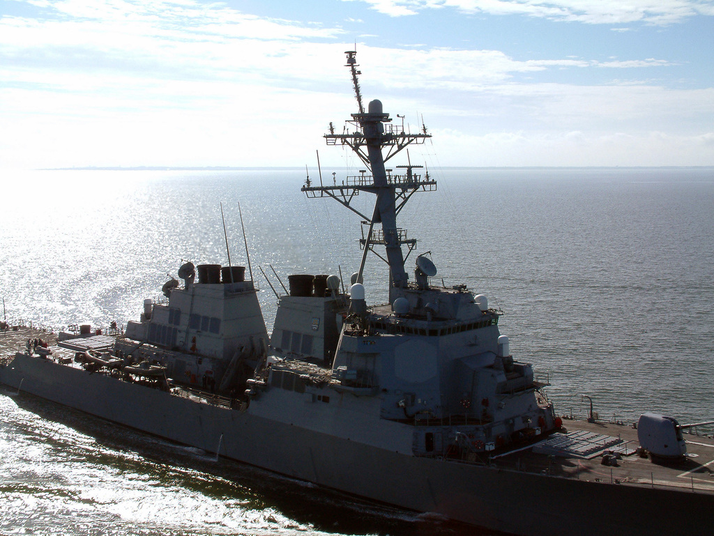 Aerial in close starboard bow view of the center section of the US Navy (USN) Arleigh Burke Class Guided Missile Destroyer USS BARRY (DDG 52) underway following a yard period of routine maintenance and modifications