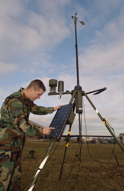 US Air Force (USAF) SENIOR AIRMAN (SRA) James Dziedzina, Weather Forecaster, 48th Operation Support Squadron (OSS), Royal Air Force (RAF) Lakenheath, United Kingdom, performs an operation check on the AN/TMQ-53 Tactical Meteorological Observing System (TMOS) sensor. The TMOS can measure multiple weather parameters at once to include temperature, dew point, lightning strikes, cloud heights, pressure, present weather, and visibility. This is one of many pieces of equipment that assist in providing direct force-enhancement support to the wing