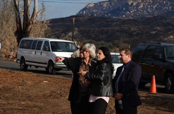 Visit of Secretary Gale Norton, far left, to the Barona Reservation, home of the Barona Band of Mission Indians, near Lakeside, California, for surveyof the extensive damage caused by the Cedar fire and discussions with federal and tribal officials