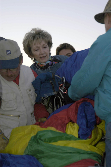 Participants of the Hot-Air Balloon Festival pack up their balloon after news that the festival was cancelled. The festival was to be held at the Cibola High School in Yuma, Arizona (AZ)