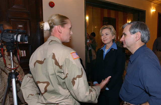 US Army (USA) Reserve, SPECIALIST Fourth Class (SPC) Addie Collins (left), 222nd Broadcast Operations Detachment (BOD), interviews Senators Jack Reed (right), Rhode Island (RI), and Hillary Rodham Clinton, New York (NY), in Baghdad, Iraq during Operation IRAQI FREEDOM