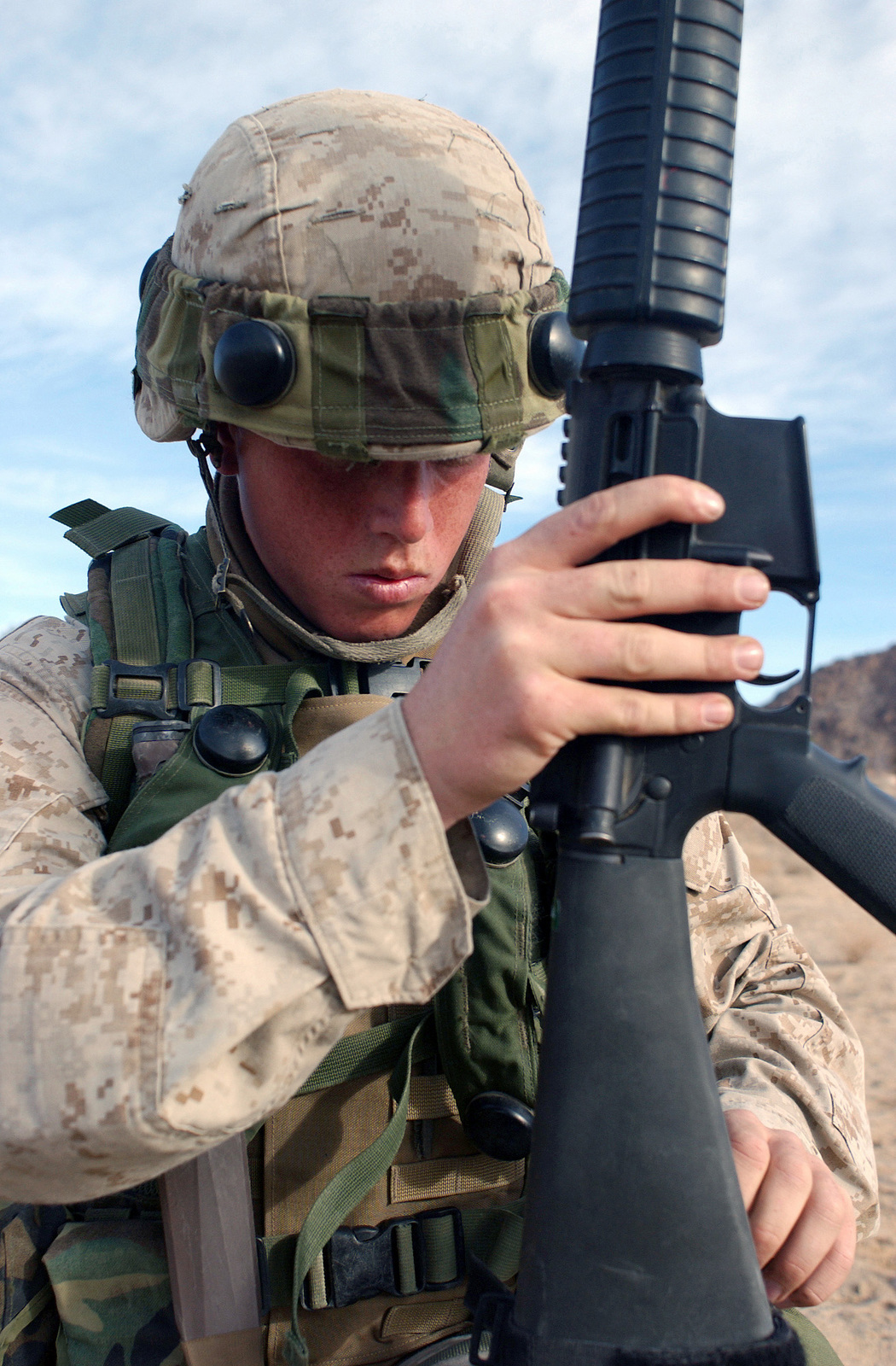 Lance Corporal Lcpl Brian A Bilderback Infantryman 3rd Battalion 7th Marines Wears Multiple Integrated Laser Engagement System Miles Gear As He