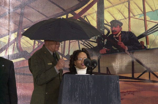 National Park Service historian Darrell Collins, left, was among the featured participants in events marking the centennial of the first powered flight, Wright Brothers National Memorial, Kill Devil Hills, North Carolina