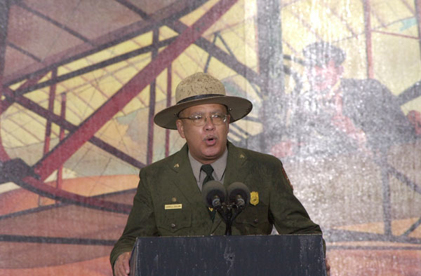 National Park Service historian Darrell Collins speaking at events marking the centennial of the first powered flight, Wright Brothers National Memorial, Kill Devil Hills, North Carolina