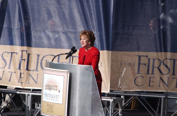 North Carolina Senator Elizabeth Dole participating in announcement of 100 aviation heroes, part of the events marking the centennial of the first powered flight, Wright Brothers National Memorial, Kill Devil Hills, North Carolina