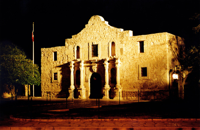 A nighttime view of the Alamo Chapel located at #1 Alamo Plaza, San Antonio, Texas (TX). This is the front of the Old Spanish Mission Fort where 189 defenders sacrificed their lives and fought to the death rather than surrender to the forces of the Mexican General Santa Anna in the year 1836