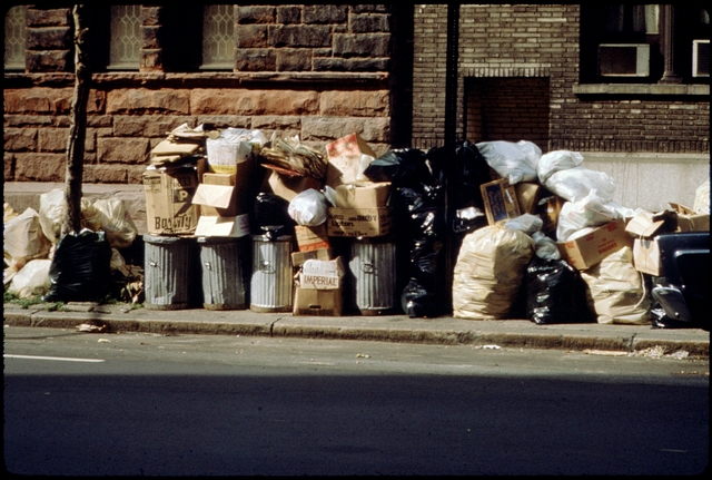 Library of Environmental Images, Office of Research and Development (ORD), September 1996 - Municipal Solid Waste - Trash cans and garbage bags at curb