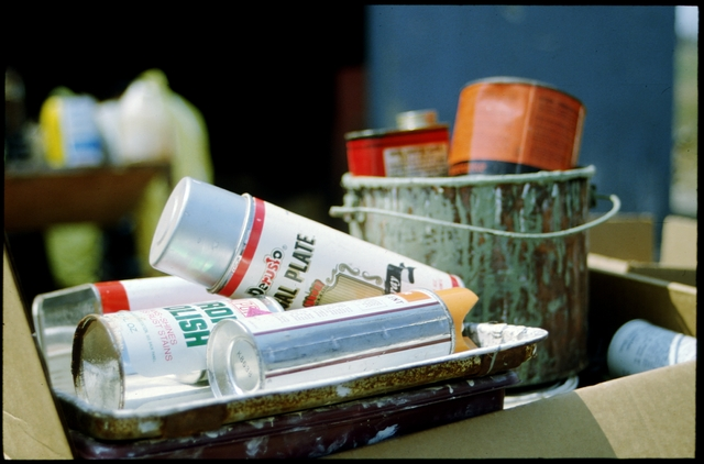 Library of Environmental Images, Office of Research and Development (ORD), September 1996 - Municipal Solid Waste - Paint cans representing typical household hazardous waste