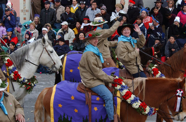 Secretary Gale Norton joining horseback riding delegation in New Year's Day Tournament of Roses Parade in Pasadena, California, to highlight the Take Pride in America-promoted volunteer commitment to cleanup of California lands devastated by 2003 forest fires