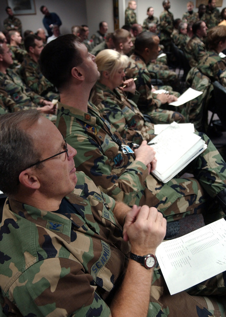US Air Force (USAF) Colonel (COL) Steven Schmidt (foreground), Commander, 55th Dental Squadron, Offutt Air Force Base (AFB), Nebraska (NE), along with other 55th Wing personnel listen to the initial Operational Readiness Exercise (ORE) component briefing. Over the next two weeks, the 55th Wing is conducting an Operational Readiness Exercise (ORE) in preparation for an upcoming Air Combat Command (ACC) inspection in March