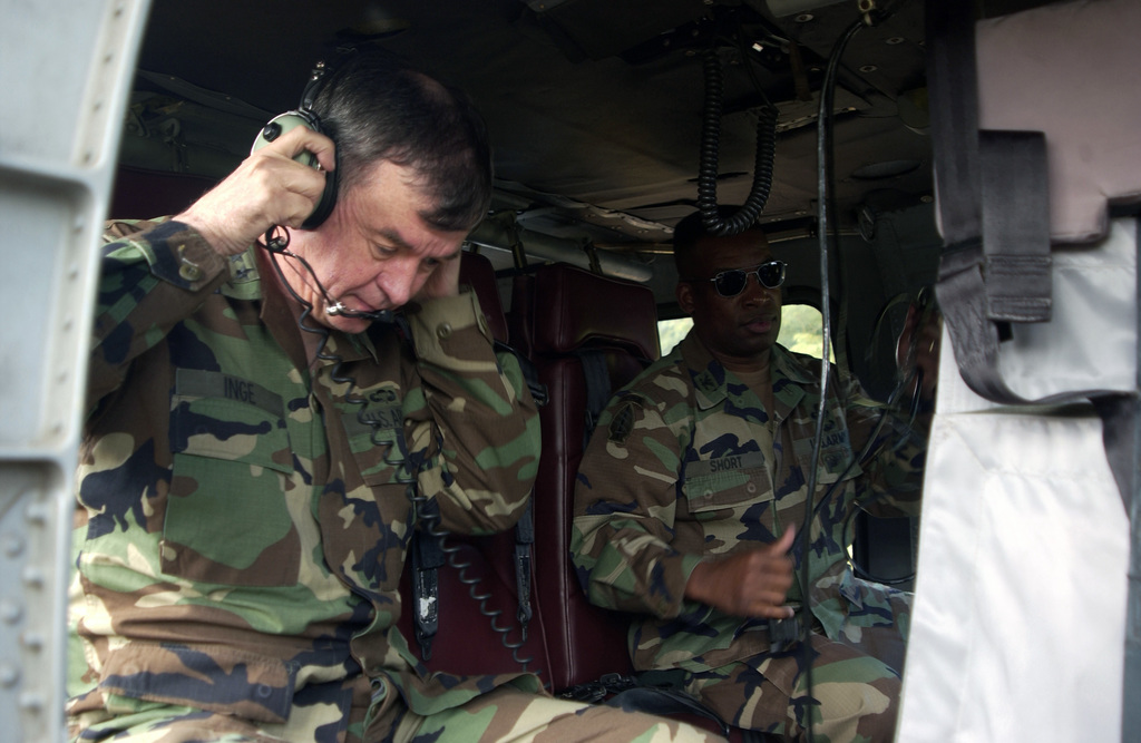 U.S. Army LT. Gen. Joseph R. Inge, left, Commander, First U.S. Army, Fort McPherson, Ga., and Puerto Rico Army National Guard COL. Edward C. Short,  board a U.S. Army UH-60 helicopter during the general's visit at Fort Buchanan, Guaynabo, Puerto Rico, on Jan. 14, 2004. (U.S. Army photo) (Released)