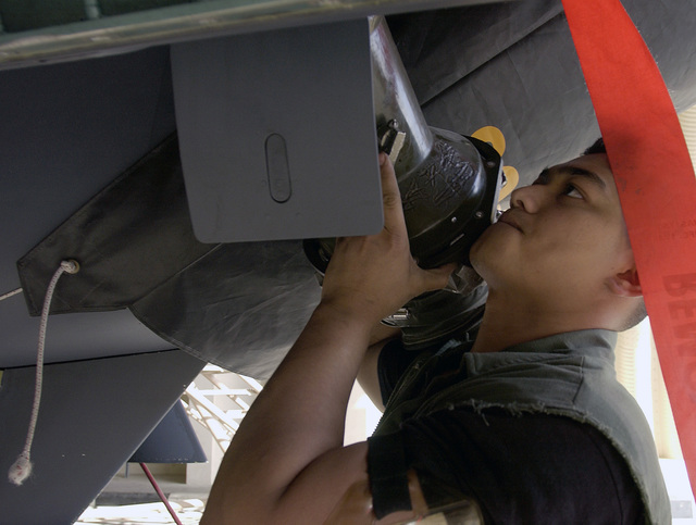 US Air Force (USAF) SENIOR AIRMAN (SRA) Gavin Duenas, a maintainer for the 391st Expeditionary Fighter Squadron (EFS), connects an air adapter to cool down the electrical avionics equipment on board an F-15 Strike Eagle aircraft, at a forward-deployed location, in support of Operation IRAQI FREEDOM