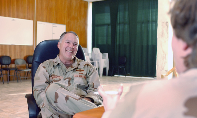 US Air Force (USAF) Colonel (COL) Robert G. Schultz, the new commander of the 447th Air Expeditionary Group (AEG), is interviewed at Baghdad International Airport (BIA), Iraq (IRQ), in support of Operation IRAQI FREEDOM