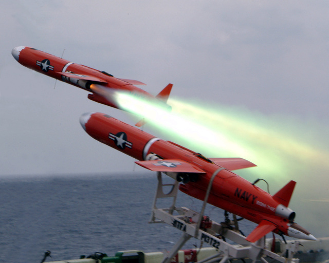 A BQM-74E Target Drone is launched from the flight deck aboard the US Navy (USN) WASP CLASS: Amphibious Assault Ship, USS ESSEX (LHA 2) during a missile firing exercise. The drones are remote controlled, GPS-guided missiles used to test the ships defensive capabilities