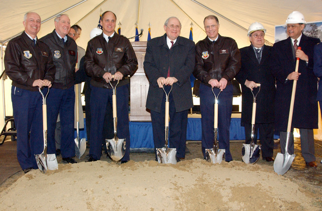 Breaking ground for a new joint services Mess Hall and Community Building, are left to right, Michigan US Air Force (USAF) Air National Guard (ANG) Assistant Adjutant General (AAG) Brigadier General (BGEN) Kencil Heaton, 927th Air Refueling Wing (ARW) Mission Support Group (MSG) Commander, Lieutenant Colonel (LCOL) Bill Laraway, 127th Wing Commander (WC), Colonel (COL) Robert Johnston, The Honorable US Senator Carl Levin of Michigan (MI), Michigan Adjutant General (MAG) Major General (MGEN) Thomas Cutler, Don Patton, Vice President (VP) of Anzaldua/Garrison and Jesse Anzaldua, President of Anzaldua/Garrison - A joint venture company contracted for the job