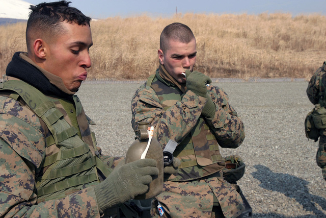 US Marine Corps (USMC) Lance Corporal (LCPL) Sergio Monzon (left) and Private First Class (PFC) James Muelken, Kilo Battery, 3rd Battalion (BN), 10th Marine Regiment, 2nd Marine Division (MAR DIV), takes time out to brush their teeth and clean up during a field operation in the North Fuji Training Area as part of Fuji Combined Arms Operation FY-04-2