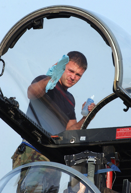 US Air Force (USAF) SENIOR AIRMAN (SRA) Joshua Frederick, with the 19th Aircraft Maintenance Unit from Elmendorf Air Force Base (AFB), Alaska (AK), cleans an F-15C Strike Eagle fighter aircraft canopy at Gwalior Air Force Station (AFS), India (IND). Approximately 150 airmen are deployed for Cope India 04, the first bi-lateral fighter aircraft exercise between the US and Indian air forces