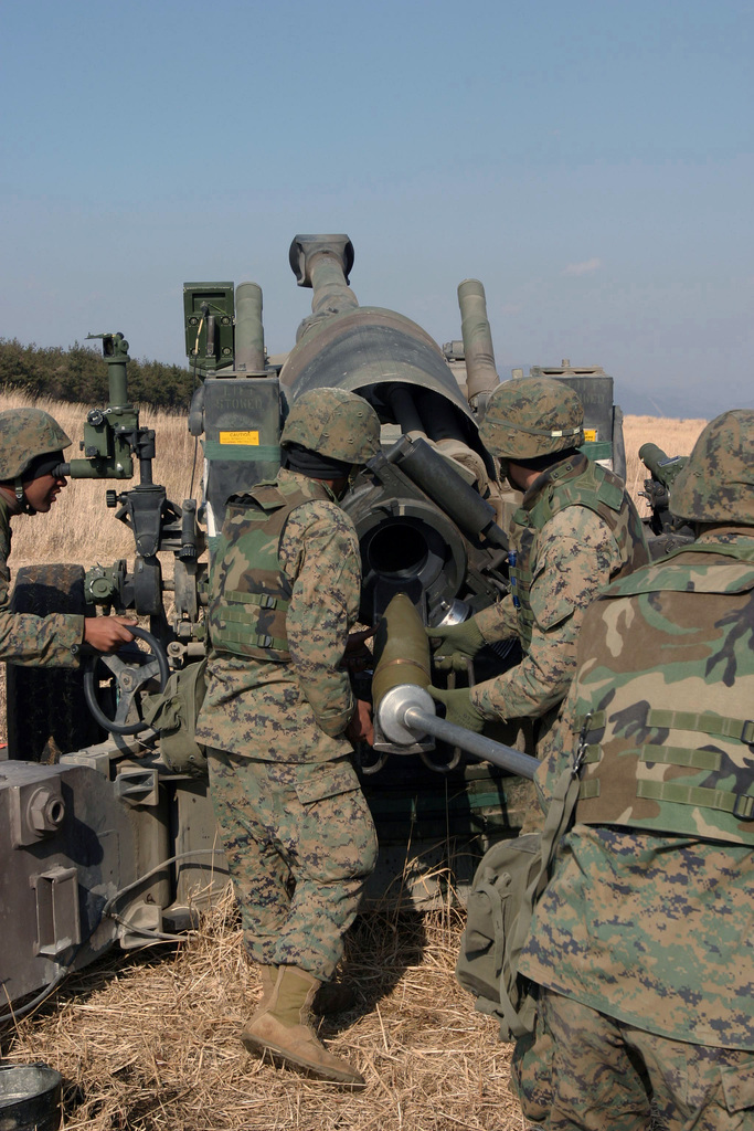 US Marine Corps (USMC) Marines, Kilo Battery, 3rd Battalion (BN), 10th Marine Regiment, 2nd Marine Division (MAR DIV), load their M198 155mm Towed Howitzer in preparation to fire during a field operation in the North Fuji Training Area as part of Fuji Combined Arms Operation FY-04-2