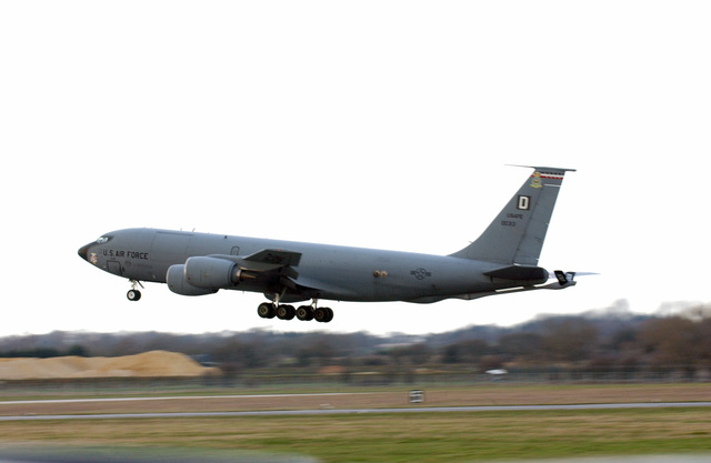 A US Air Force (USAF) KC-135 Stratotanker aircraft from the 100th Air Refueling Wing (ARW), lands at Royal Air Force (RAF) Fairford, England (ENG), for a temporary stay.The stay will end once their home runway at RAF Mildenhall is reconstructed