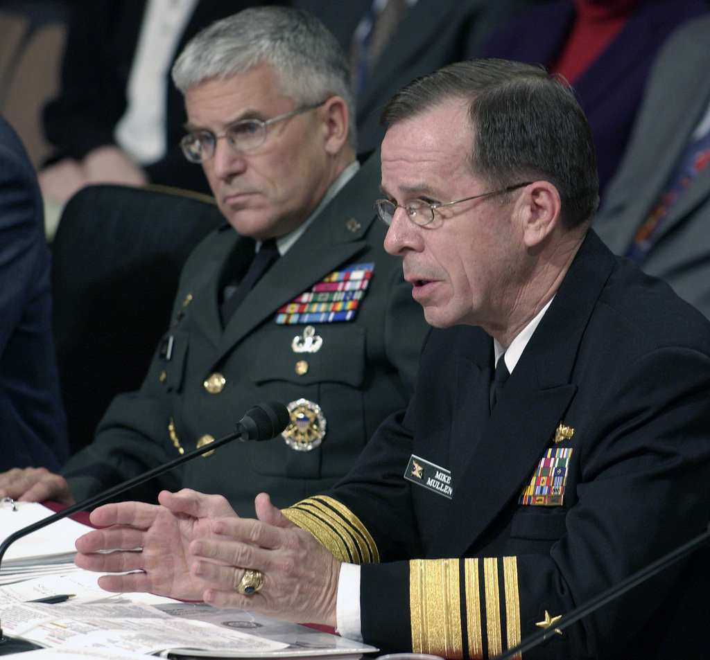 US Navy (USN) Naval Operations (USNO) Vice CHIEF Admiral (VCADM) Michael G. Mullen, right, answers questions during a hearing of the Senate Armed Services Sub-committee (SASS) on Personnel about the Department of Defense (DoD) 2002 Sexual Harassment Survey. The sub-committee is holding a hearing about the policies and programs for preventing and responding to incidents of sexual assaults in the military. US Army (USA) Vice CHIEF of STAFF (VCS) General (GEN) George W. Casey Jr., listens