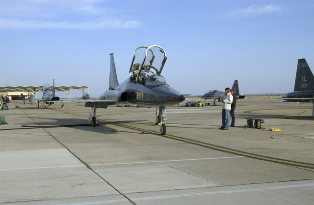 Christian Rodriguez, a senior class student at Del Rio High School (HS), in Del Rio, Texas (TX), inspects a US Air Force (USAF) T-38 Talon training aircraft, 87th Flying Training Squadron (FTS), 47th Flight Training Wing (FTW), Laughlin Air Force Base (AFB), TX, as part of his participation in a joint Laughlin AFB and San Felipe Del Rio Consolidated School District program known as Grow Your Own