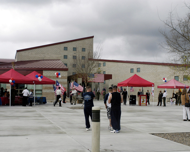 Spectators and US Marine Corps (USMC) personnel gather for the Ribbon Cutting Ceremony, during the grand opening of the Semper Fit Field House, located at Marine Corps Base (MCB), Camp Pendleton, California (CA)