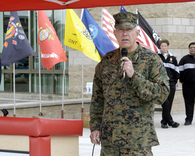 US Marine Corps (USMC) Lieutenant General (LGEN) James T. Conway, Commanding General, 1ST Marine Expeditionary Force (MEF), gives opening remarks prior to the Ribbon Cutting Ceremony, during the grand opening of the Semper Fit Field House, located at Marine Corps Base (MCB), Camp Pendleton, California (CA)