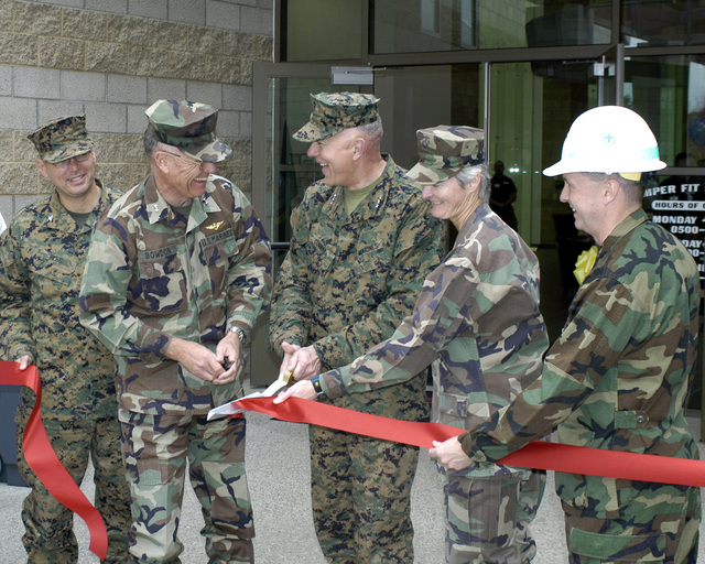 US Marine Corps (USMC) Members of the Official Party participate in the Ribbon Cutting Ceremony, during the grand opening of the Semper Fit Field House, located at Marine Corps Base (MCB), Camp Pendleton, California (CA). Pictured left-to-right: USMC Colonel (COL) Rees; Major General (MGEN) William G. Bowdon, Commanding General, Marine Corps Base (MCB) Camp Pendleton; Lieutenant General (LGEN) James T. Conway, Commanding General, 1ST Marine Expeditionary Force (MEF); and two other unidentified members of the party