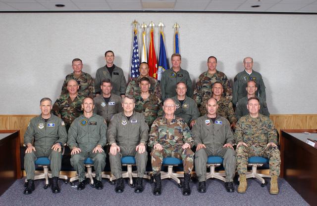 Sitting in the front row are, left to right, S Air Force (SAF) Major General (MGEN) James A. Hawkins; S Navy (SN) Rear Admiral (RADM) Jonathan W. Greenert SAF MGEN Theodore W. Lay II; S Army (SA) MGEN James M. Collins, Jr.; SAF MGEN James N. Soligan and SMC MGEN John J. McCarthy, Jr.. Sitting in the middle row are, left to right, SA Brigadier General (BGEN) Kenneth W. Hunzeker; SAF BGEN Daniel J. Darnell; SA BGEN David M. Rodriguez; SAF MGEN Mark A. Welsh III; SMC BGEN Christian B. Cowdrey; SAF BGEN Gilmary M. Hostage III. Standing in the back are left to right, SA BGEN Robert E. Durbin; SN RADM Marc L. Purcell; SA BGEN Jason K. Kamiya; SN RADM Bernard J. McCullough;...