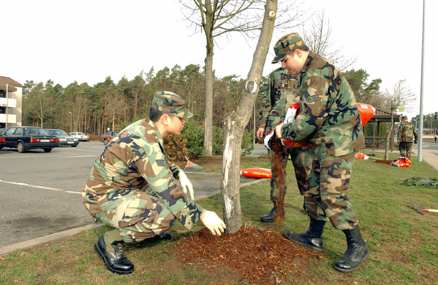 US Air Force (USAF) Airmen assigned to the 735th Communications Squadron (CS), participate in cleanup activities during Base Clean Up Day, at Ramstein Air Base (AB), Germany