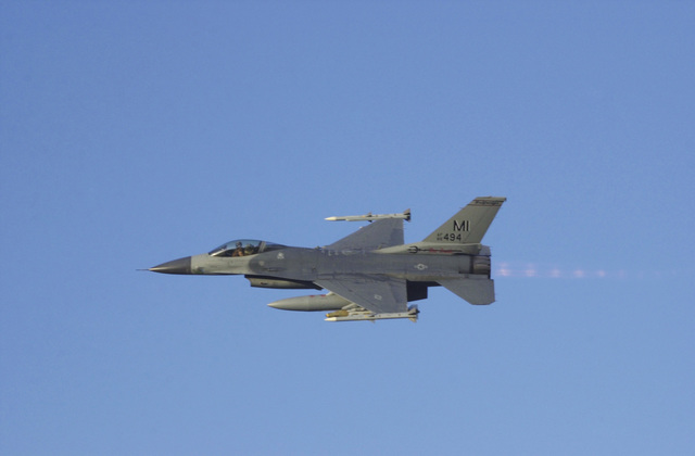 A US Air Force (USAF) F-16C Fighting Falcon, 107th Fighter Squadron (FS), Selfridge Air National Guard Base (ANGB), Michigan (MI), deployed to Kirkuk Air Base (AB), Iraq, to provide armed reconnaissance in support of Operation IRAQI FREEDOM