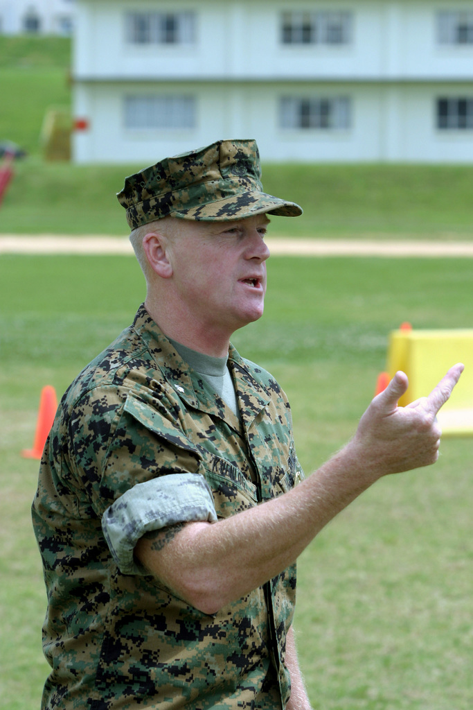 US Marine Corps (USMC) Lieutenant Colonel (LTC) Kevan Kvenlog, Provost Marshal, Camp Foster, Marine Corps Base (MCB) Camp Smedley D. Butler, Okinawa, Japan, briefs Special Reaction Team (SRT) Marines during a Force Protection Exercise (FPEX), which is a base wide exercise designed to test and improve base security throughout MCB Camp Smedley D. Butler between March 29 and April 1, 2004
