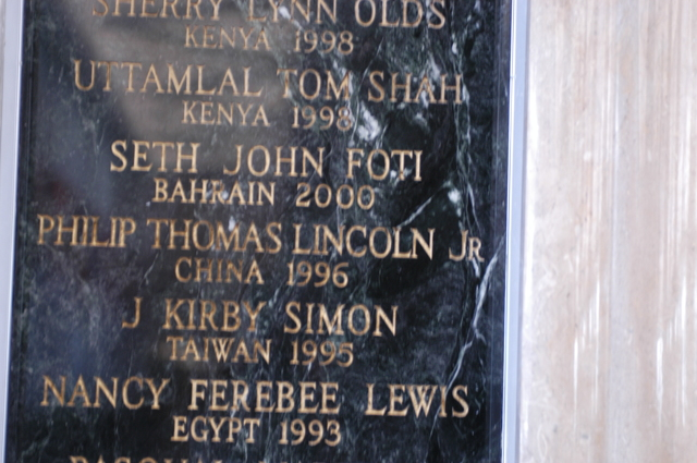 [Assignment: 59-CF-DS-13074-04] Views of American Foreign Service Association Memorial Plaque in C Street Lobby, Harry S. Truman Building.  [Among names is that of J. Kirby Simon, a foreign service officer who died while serving in Taiwan in 1995--and the namesake for the J. Kirby Simon Foreign Service Trust, dedicated to international assistance projects.] [Photographer: Mark Stewart--State] [59-CF-DS-13074-04_DSC_0278.JPG]
