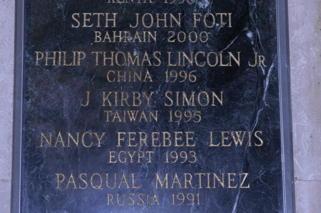 [Assignment: 59-CF-DS-13074-04] Views of American Foreign Service Association Memorial Plaque in C Street Lobby, Harry S. Truman Building.  [Among names is that of J. Kirby Simon, a foreign service officer who died while serving in Taiwan in 1995--and the namesake for the J. Kirby Simon Foreign Service Trust, dedicated to international assistance projects.] [Photographer: Mark Stewart--State] [59-CF-DS-13074-04_DSC_0280.JPG]